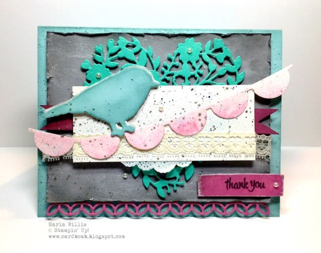 Cardbomb: OSAT Blog Hop: Shabby Chic Maria Willis www.cardbomb.blogspot.com Stampin' Up!, shabby chic, framelits, thinlits, birds, hearts, thank you, create, handmade, distressed,