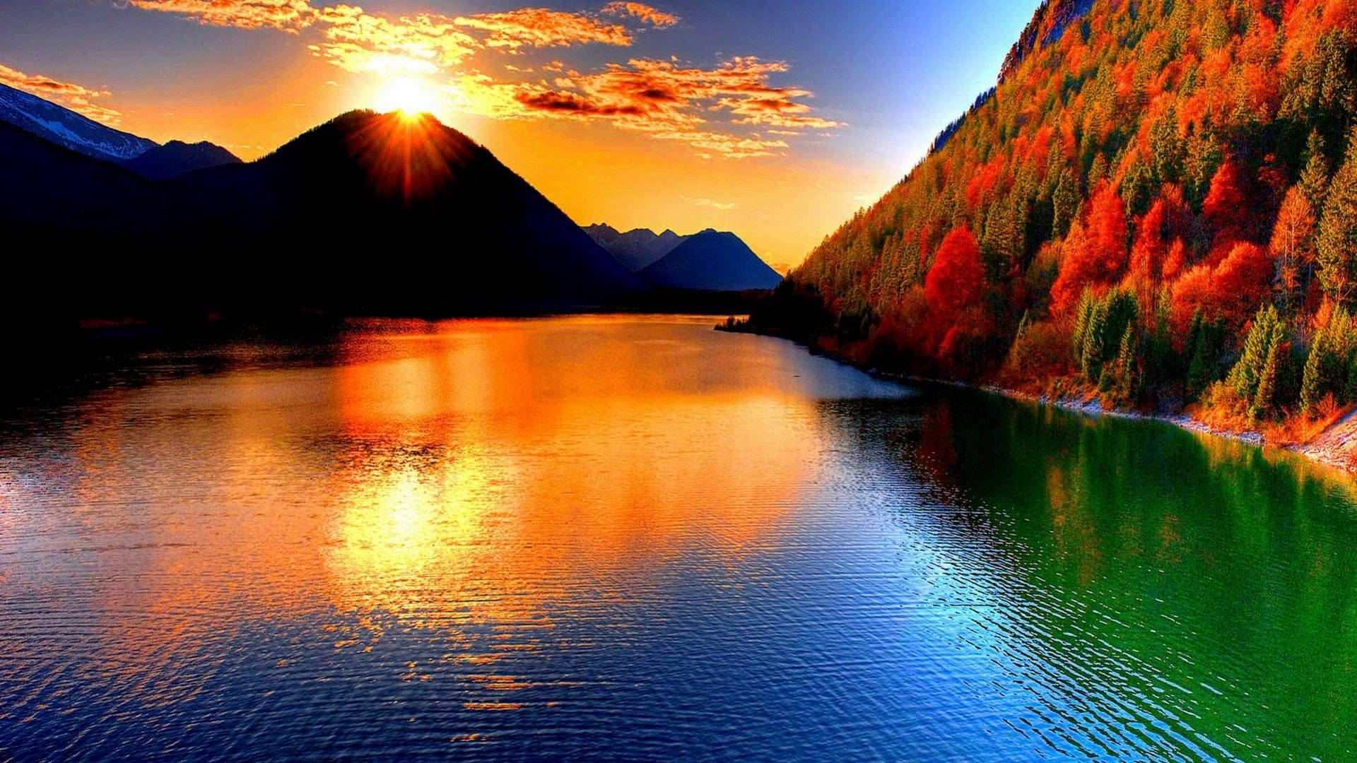 Sun And Earth Amazing Site | ... River In The Foreground And Amazing Autumn