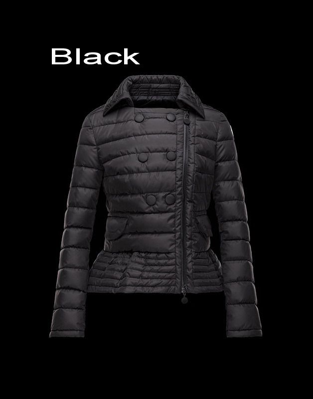 Moncler Biber Women Nylon With Silky Double Breasted Jacket Black Outlet Sale