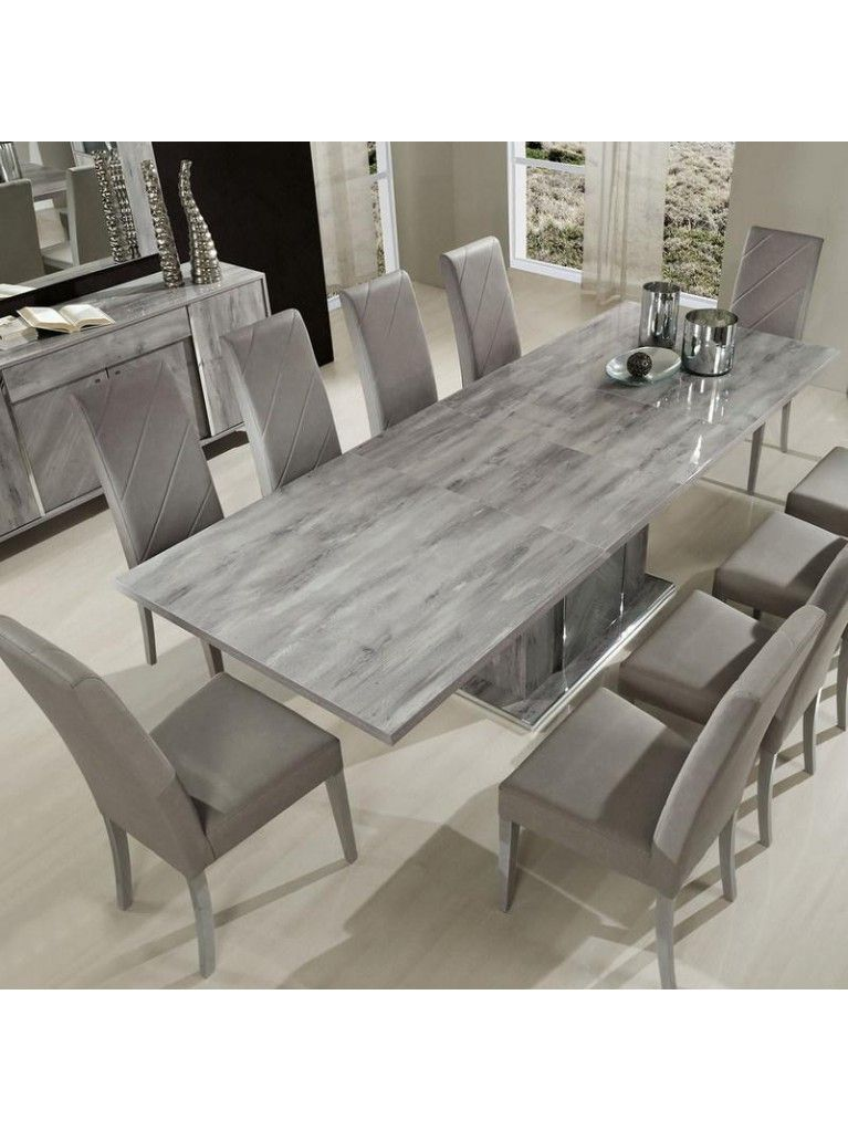 H2o Design Alexa Light Grey Glossy Extendable Table Grey Dining