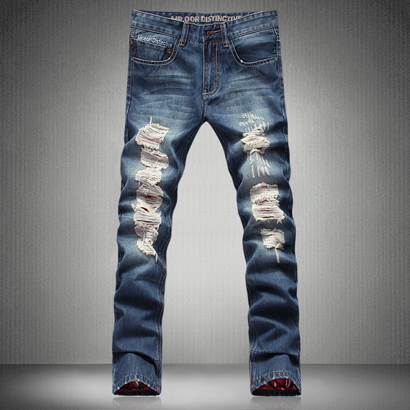 56.99$  Buy now - http://alio2y.worldwells.pw/go.php?t=32582025851 - 2016 Hot Fashion Men Jeans New Vintage Fashion Design Motorcycle Hole Torn Denim Trousers Slim Fit Pants Size 29-38 MB16041 Z20 56.99$