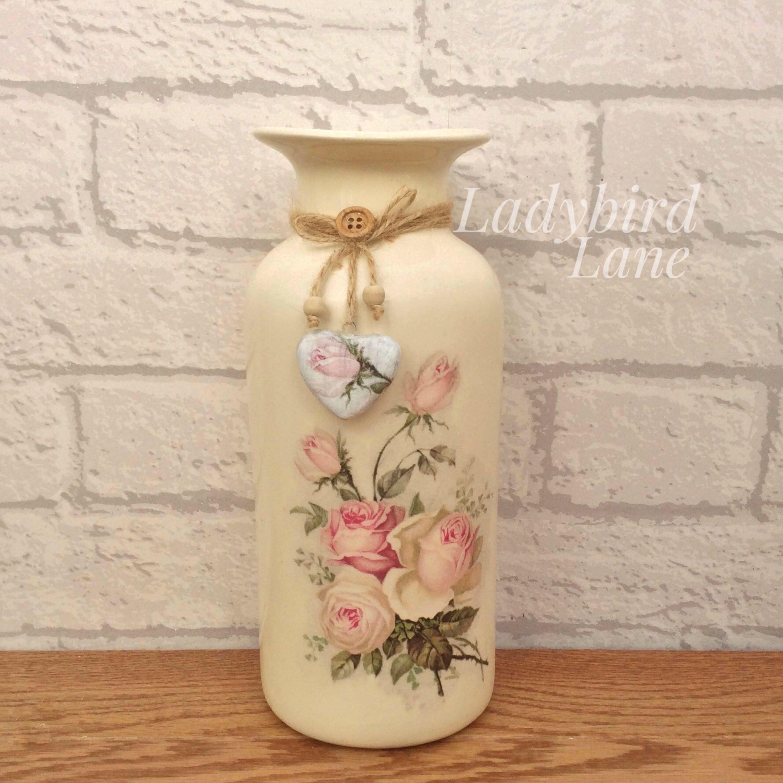 Cream ceramic vase pink roses vase shabby chic vase ceam pot cream ceramic vase pink roses vase shabby chic vase ceam pot vase decoupaged vase heart decoration vase with heart flower vase reviewsmspy