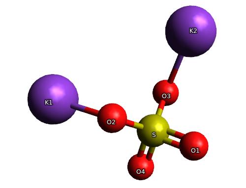 Potassium Sulphate molecule (Tissue Salt number 7 ...
