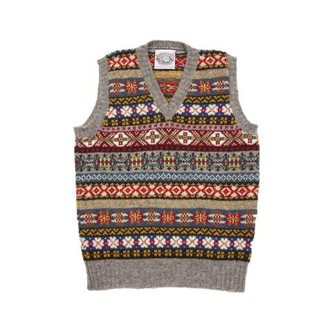 Jamieson's V-neck Fair Isle Slipover in Grey | Outfit | Pinterest ...