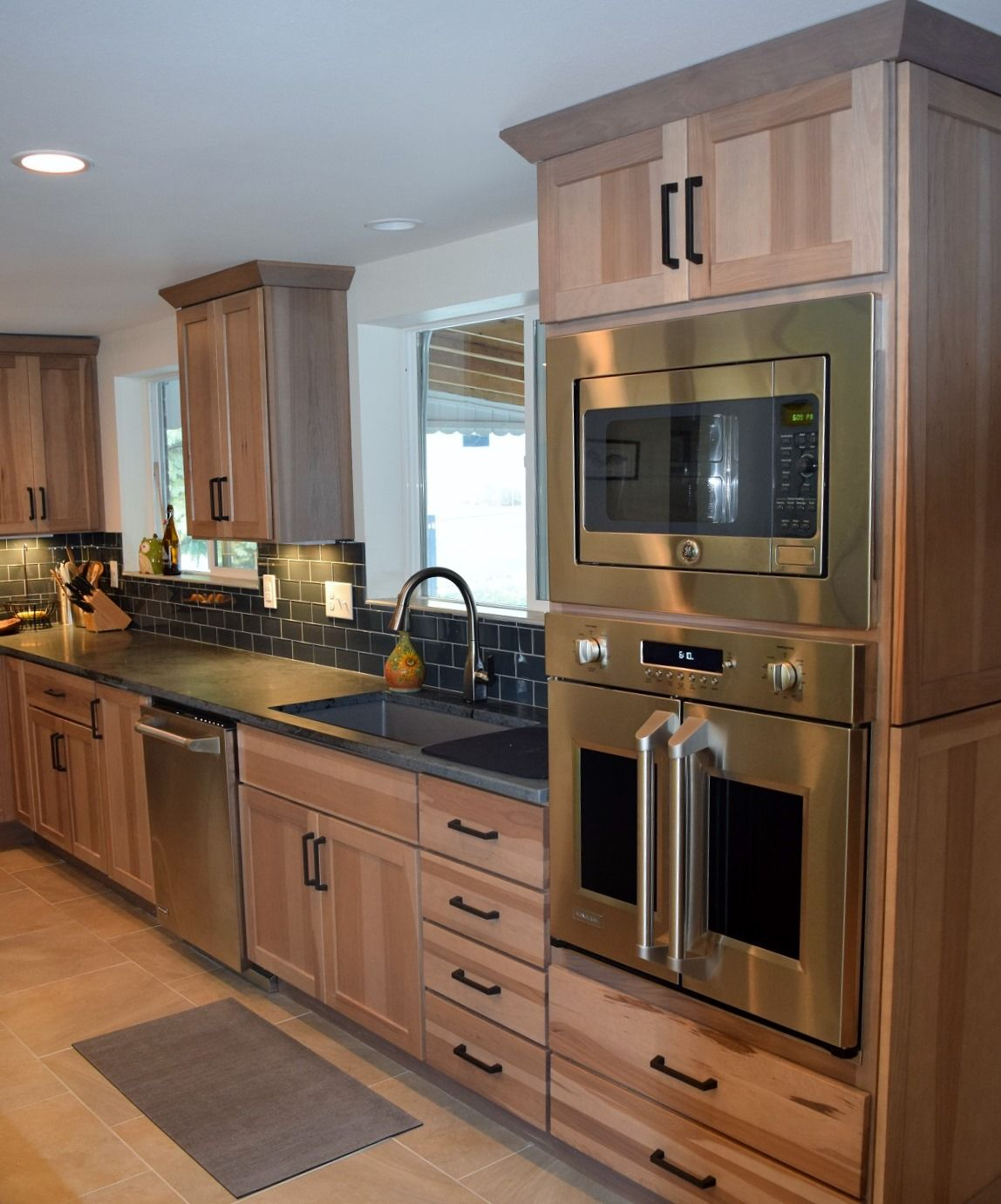 Rustic Hickory Cabinets and Monogram French Door Wall Oven ...