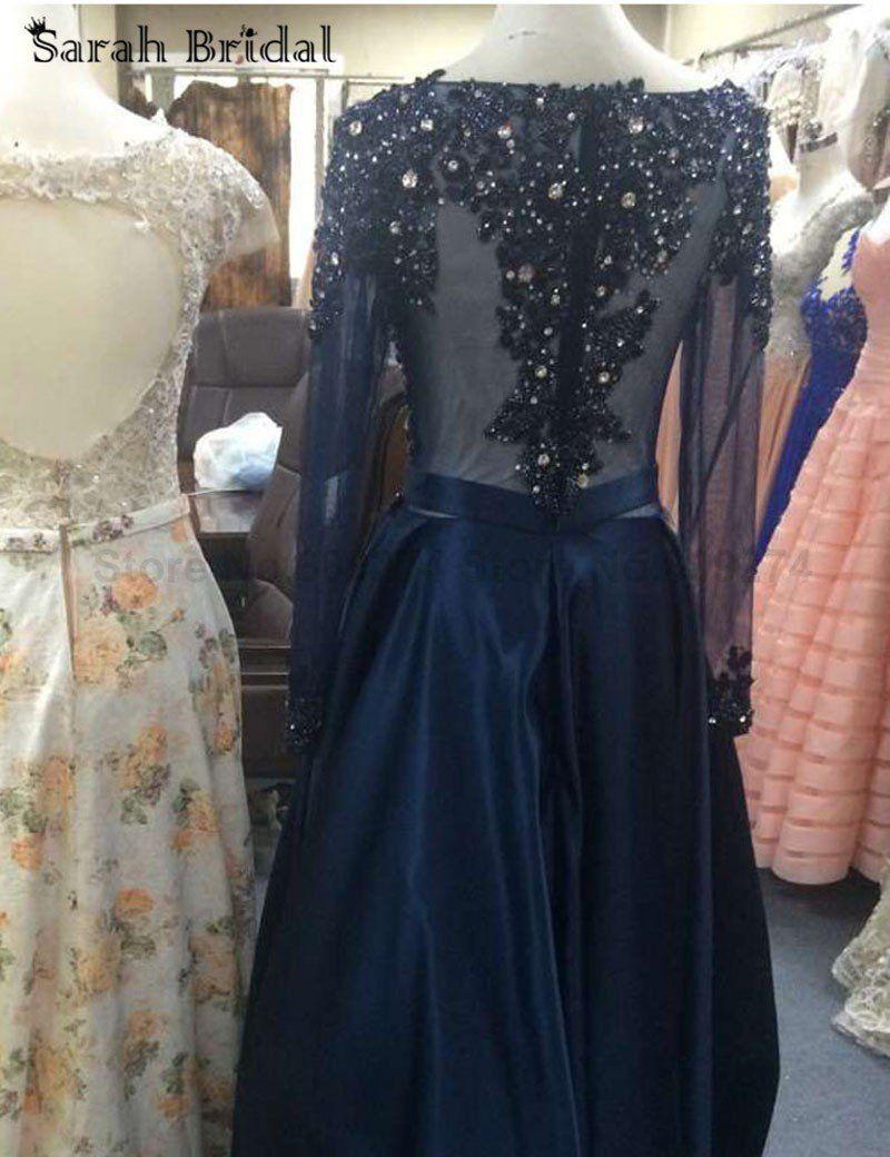 Navy prom dressaline prom dresslong sleeves prom dressbeaded