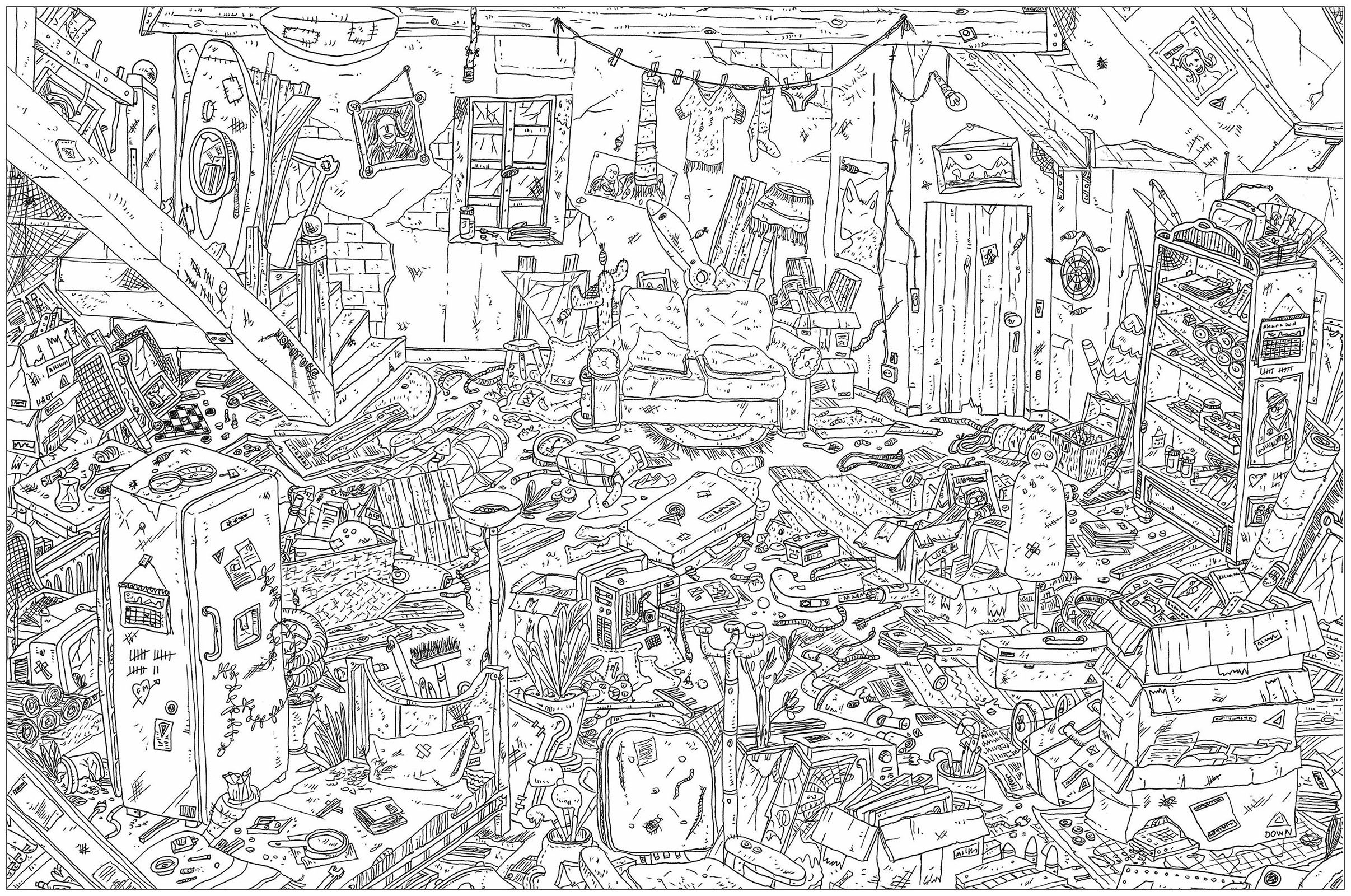 Attic A Complex Coloring Page Where Is Waldo Style From The Gallery Architecture