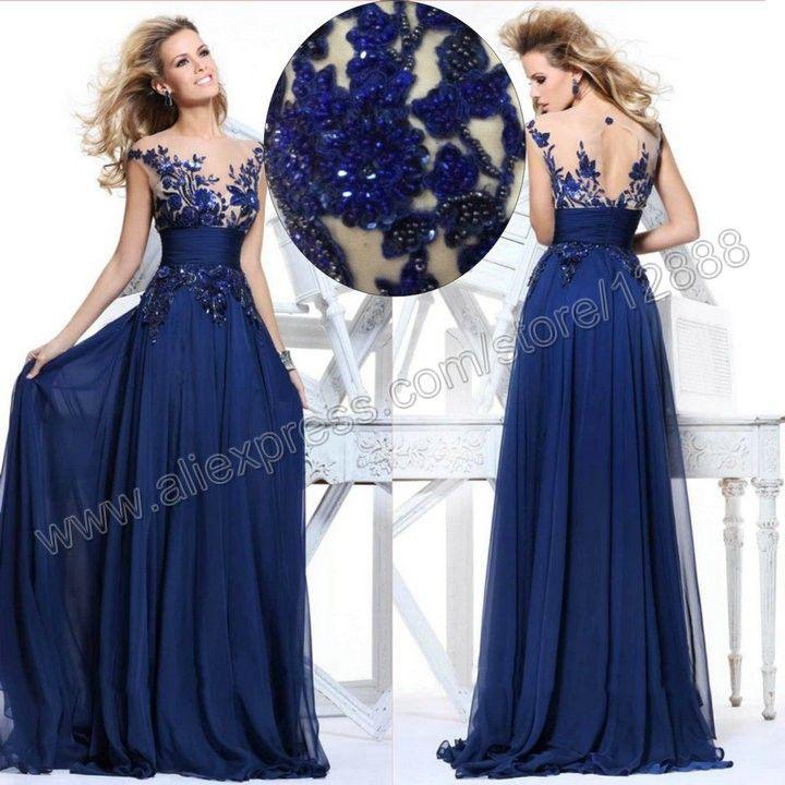 Vestidos de noche de gasa, Vestidos de noche and Azul pavo on Pinterest