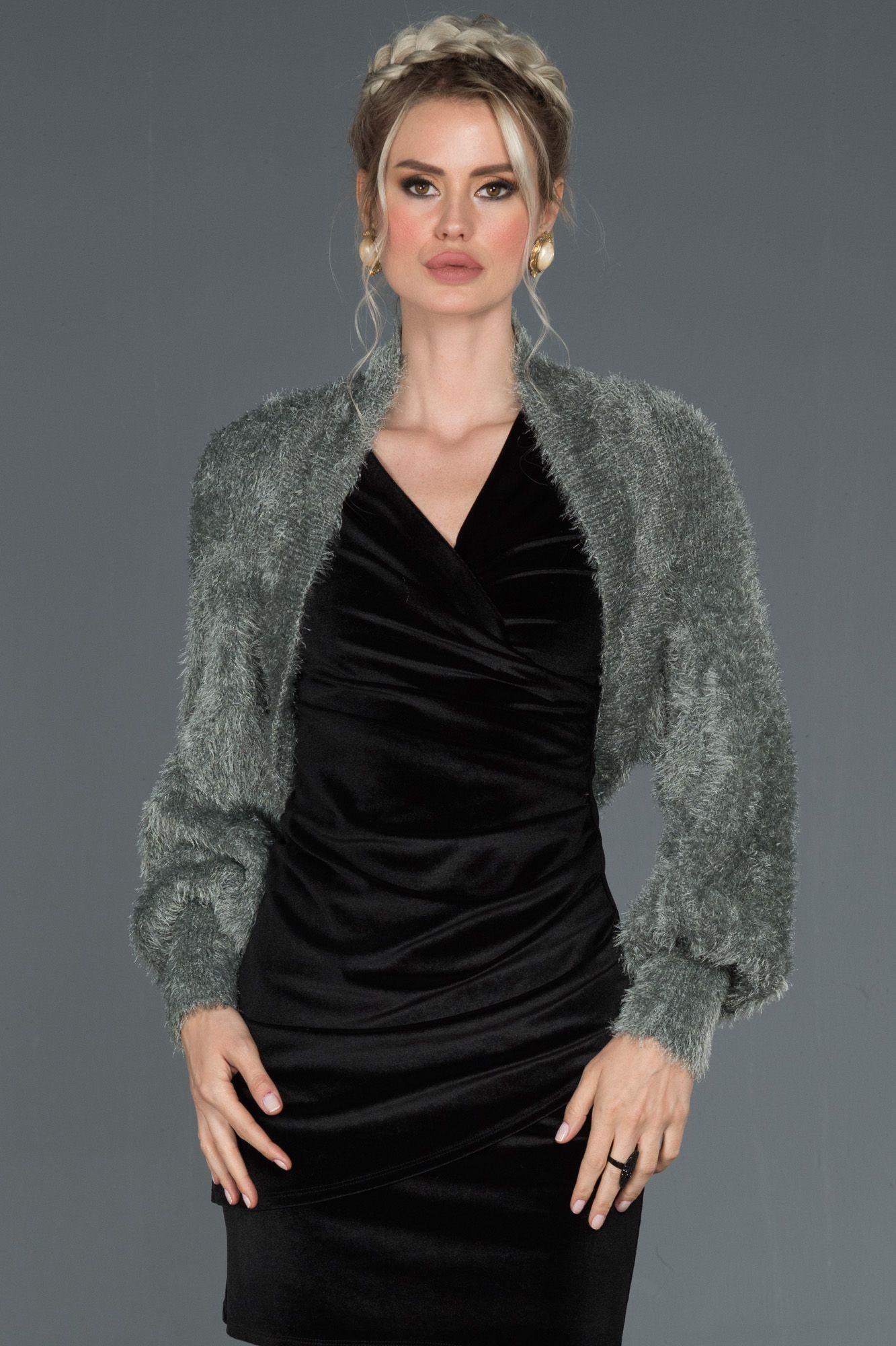 Antrasit Balon Kol Orgu Bolero Nl7777 2020 Elbise Modelleri Moda Stilleri Elbise
