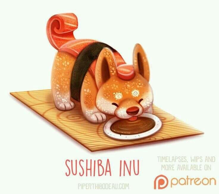 Sushi Dog Cute Food Drawings Animal Drawings Cute Animal Drawings