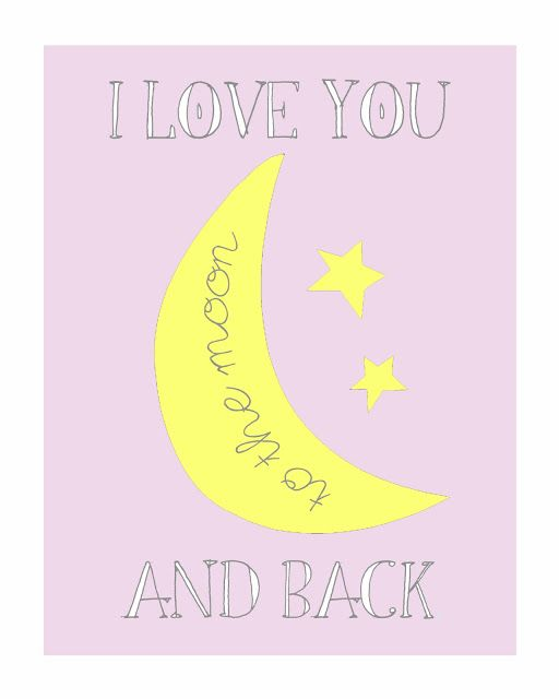 FREE printable nursery wall art // GDesigned: I Love You To the Moon ...