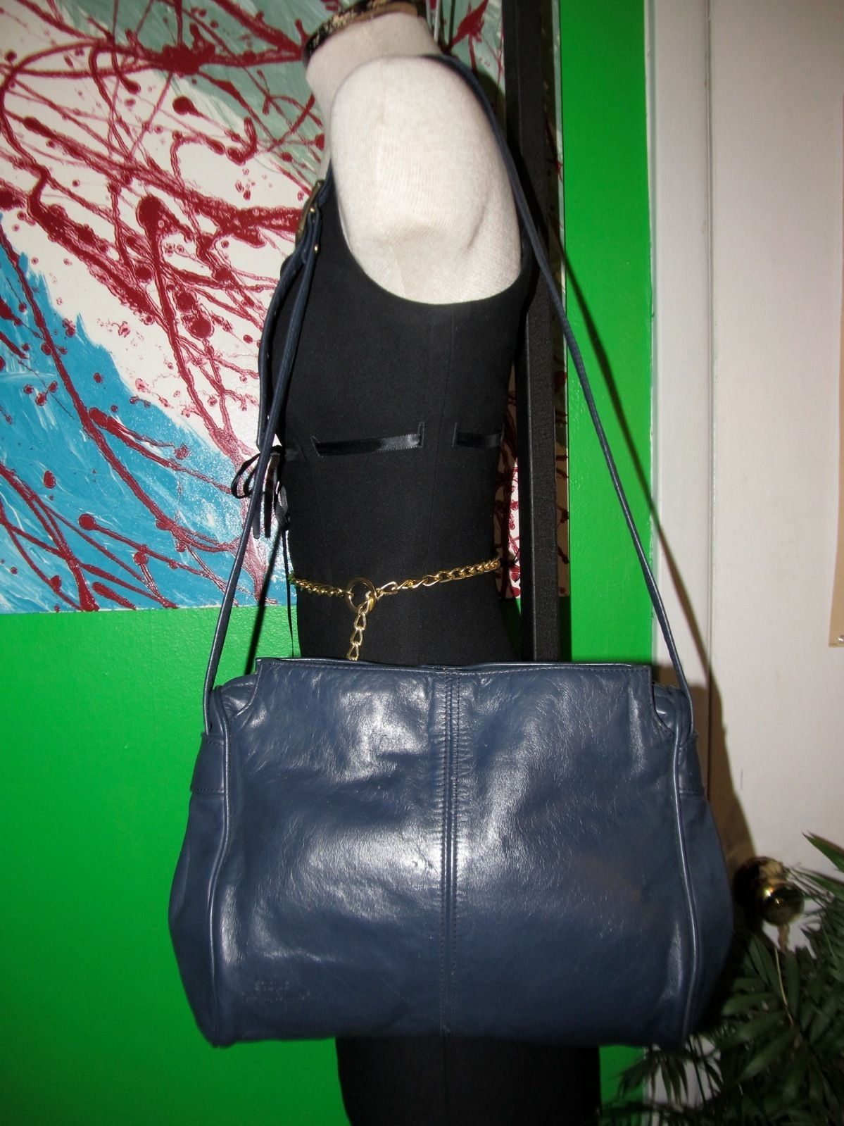 Navy Blue Leather Stone Mountain Handbag Shoulder Bag Purse Tote Ebay Handbags