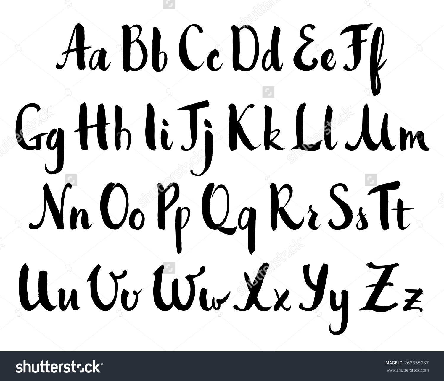 Stock vector hand drawn alphabet brush painted