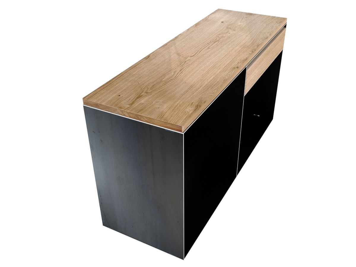 sideboard metall kaminholz aufbewahrung sideboard metall metall und eiche. Black Bedroom Furniture Sets. Home Design Ideas