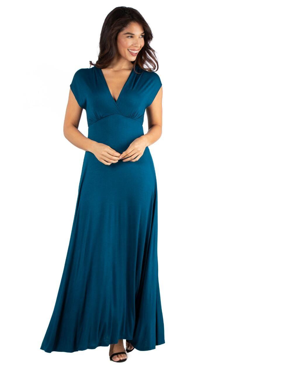 24seven Comfort Apparel Empire Waist V Neck Maxi Dress S Rayon Maxi Dress Occasion Maxi Dresses Empire Waist Dress [ 1250 x 1000 Pixel ]