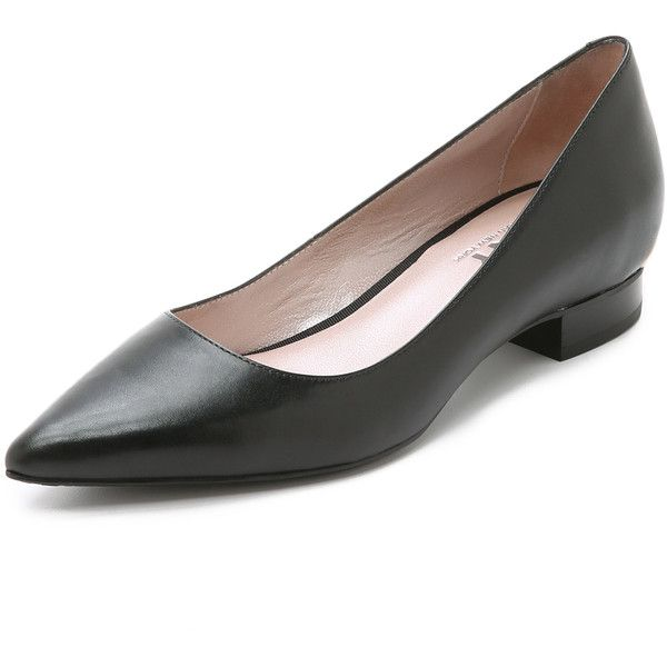 DKNY Polly Pointy Flats (645 SAR) ❤ liked on Polyvore featuring shoes, flats, black, black pointed toe flats, leather shoes, black leather shoes, flat shoes and black leather flats