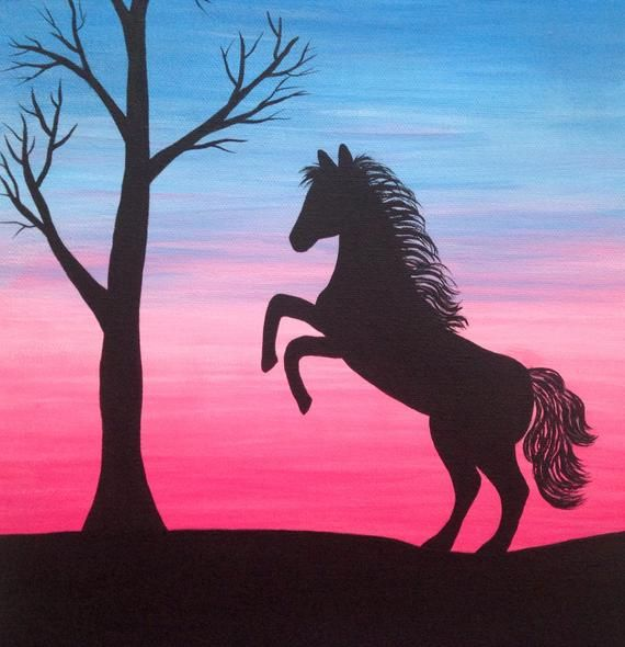 Silhouette art, 11×14 painting, animal wall art, horse silhouette, horse wall decor, horse art, cowgirl gift, western wall art, black horse