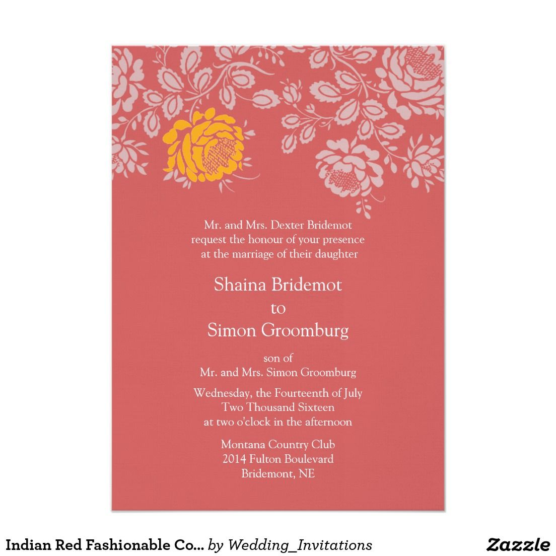 Indian Red Fashionable Color Coordinated Wedding Card | Other ...