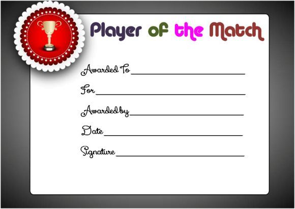 Netball Player Of The Match Certificate Netball Certificates