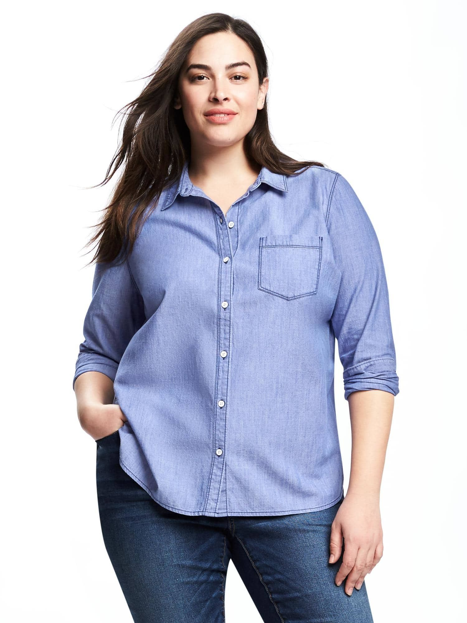 df807bd6 Classic Plus-Size Chambray Shirt | Old Navy | Fashion and ...