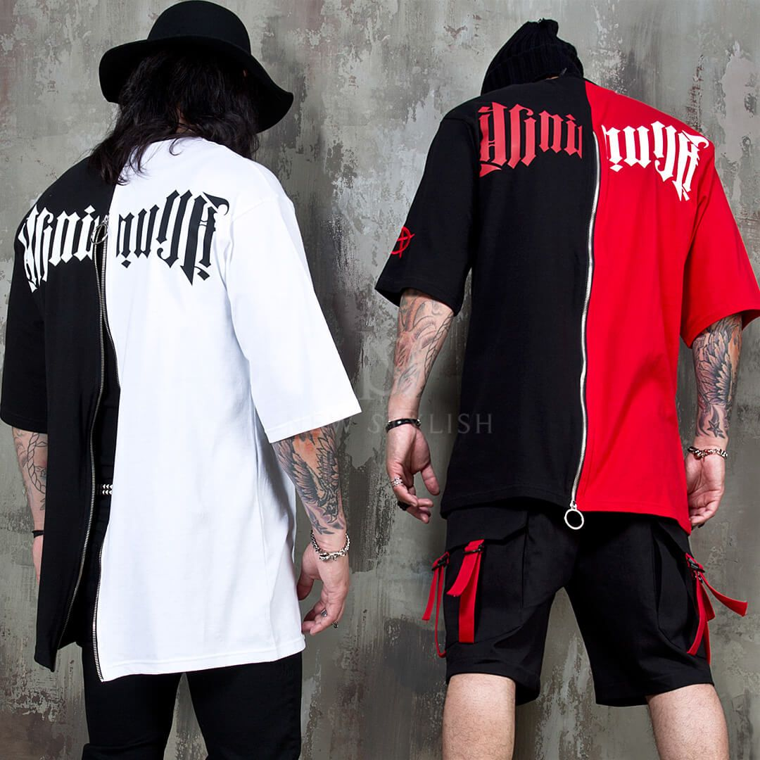 Half Contrast Back Zippered T Shirts 999 Color In 2019