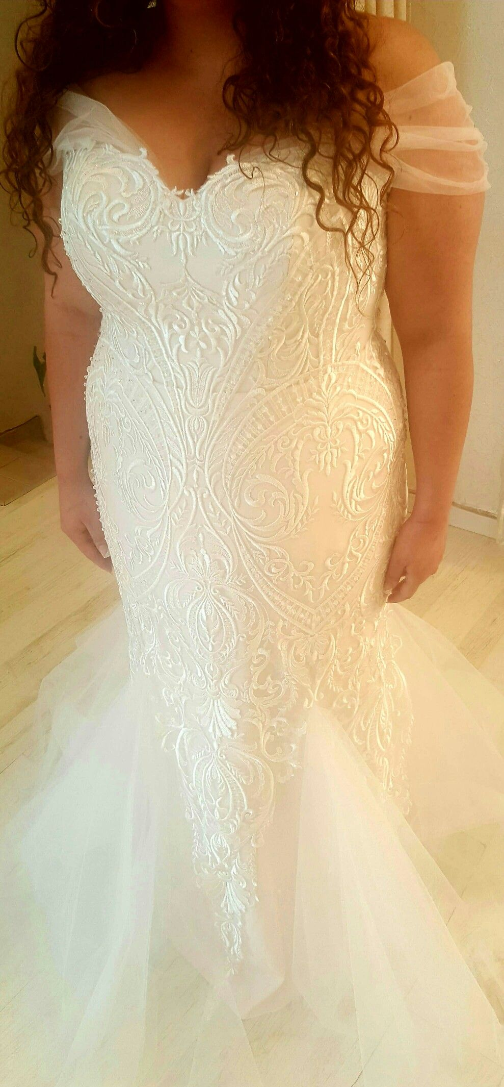 Plus size lace mermaid wedding gown with tulle off shoulder sleeves