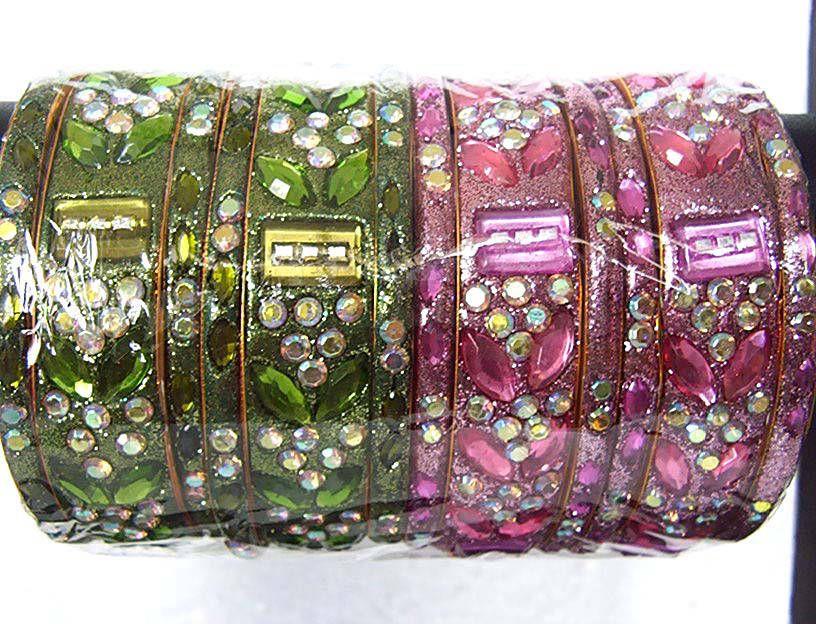 Kundan glitter Meenakari Indian bangles 14
