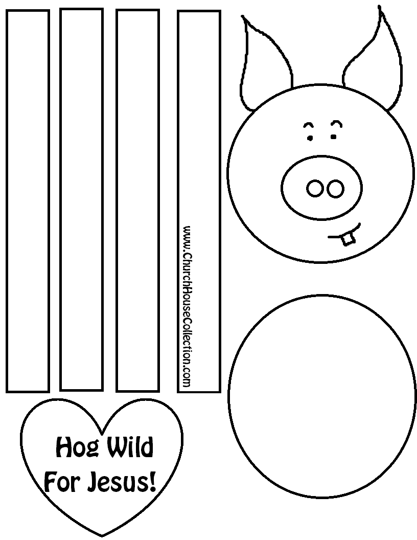 Hog Wild For Jesus Pig Craft Valentines Day Sunday School Childrens Church Coloring Page Printable Free Template By House Collection COLORED