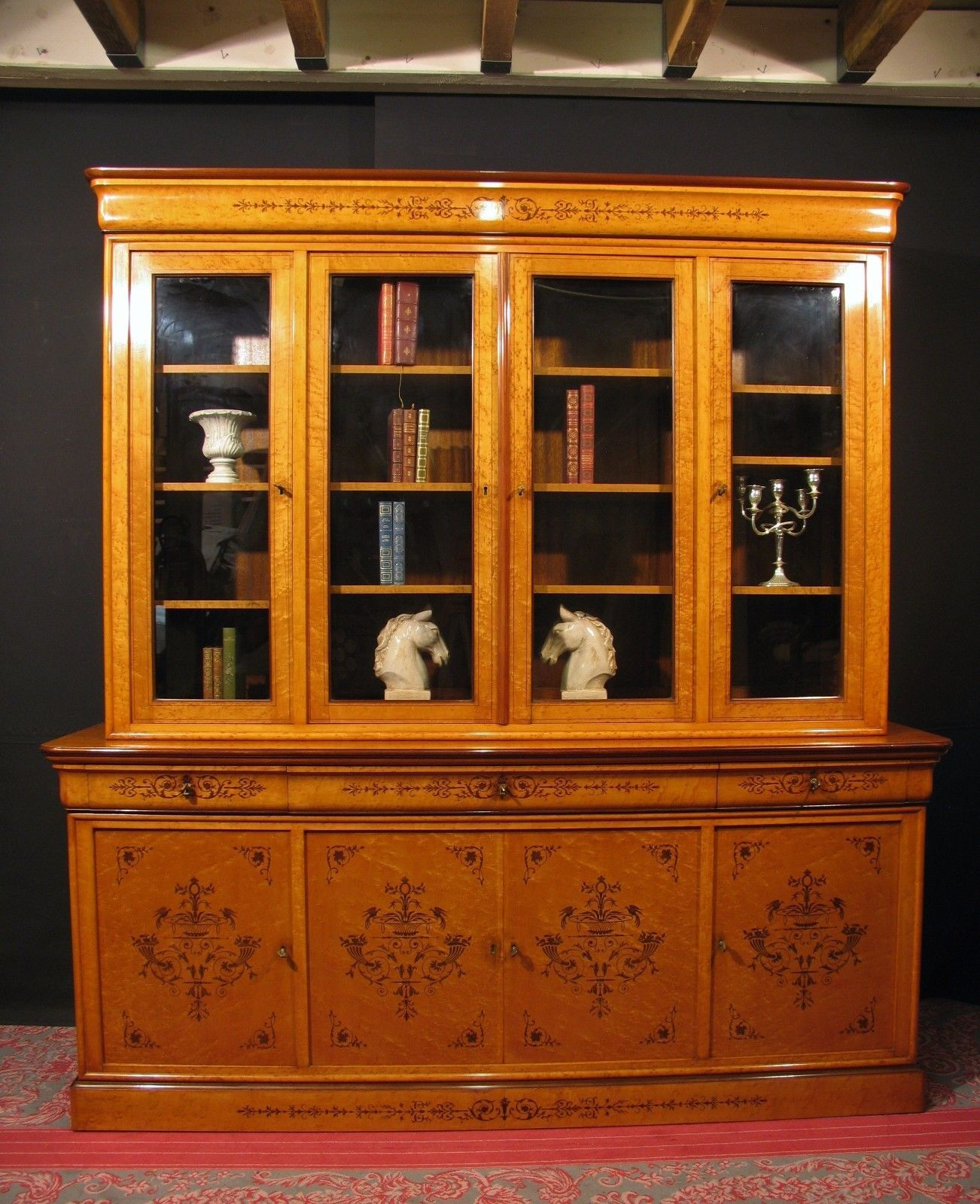 grande biblioth que charles x meuble 2 corps vitrine. Black Bedroom Furniture Sets. Home Design Ideas