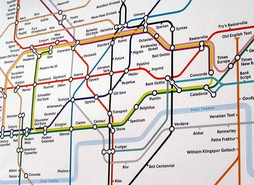 London Tube map designed by Eiichi Kono Combines fonts and maps