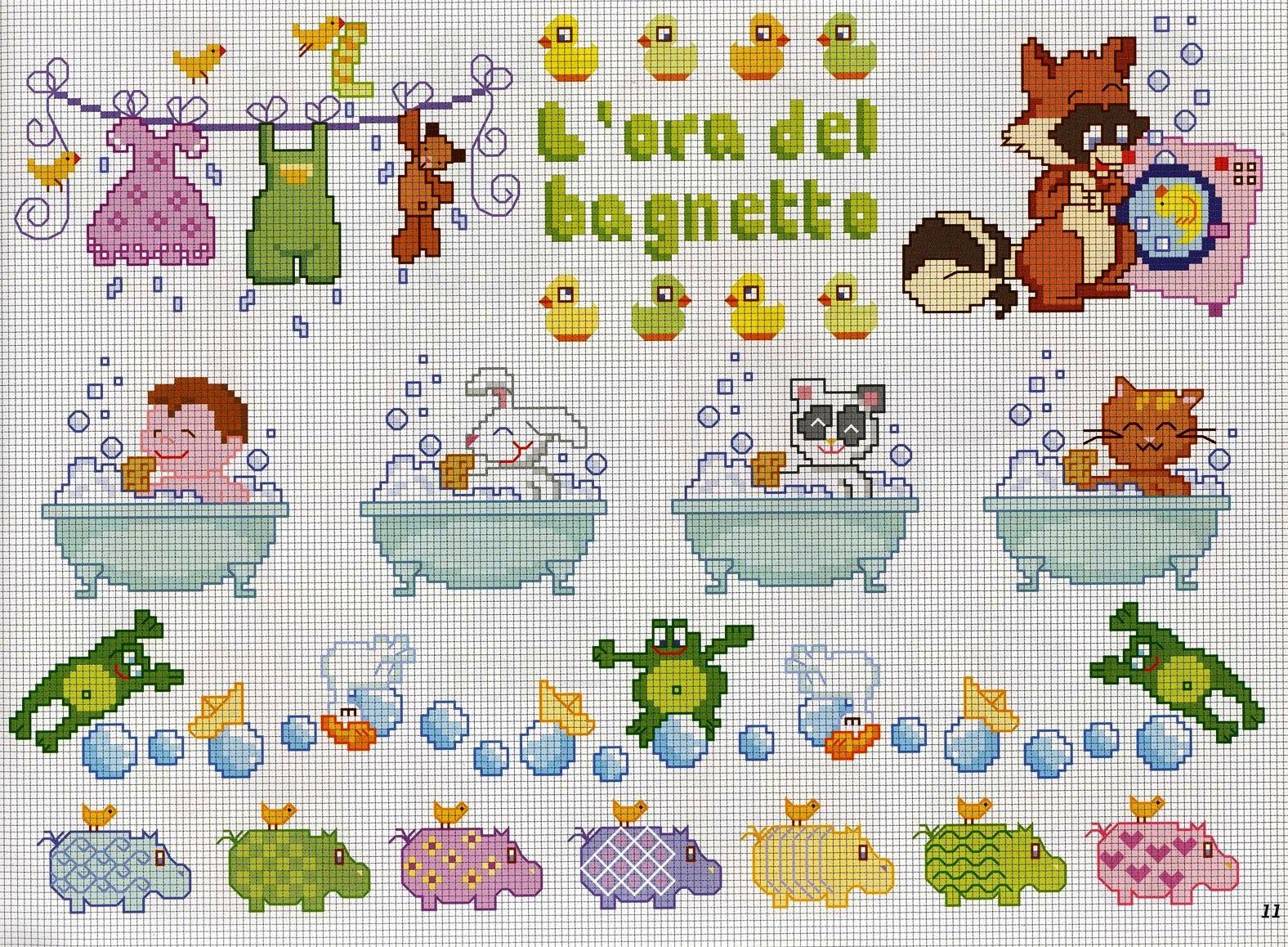 Graficos De Bichinhos No Banho Para Bebes Em Ponto Cruz Punto De