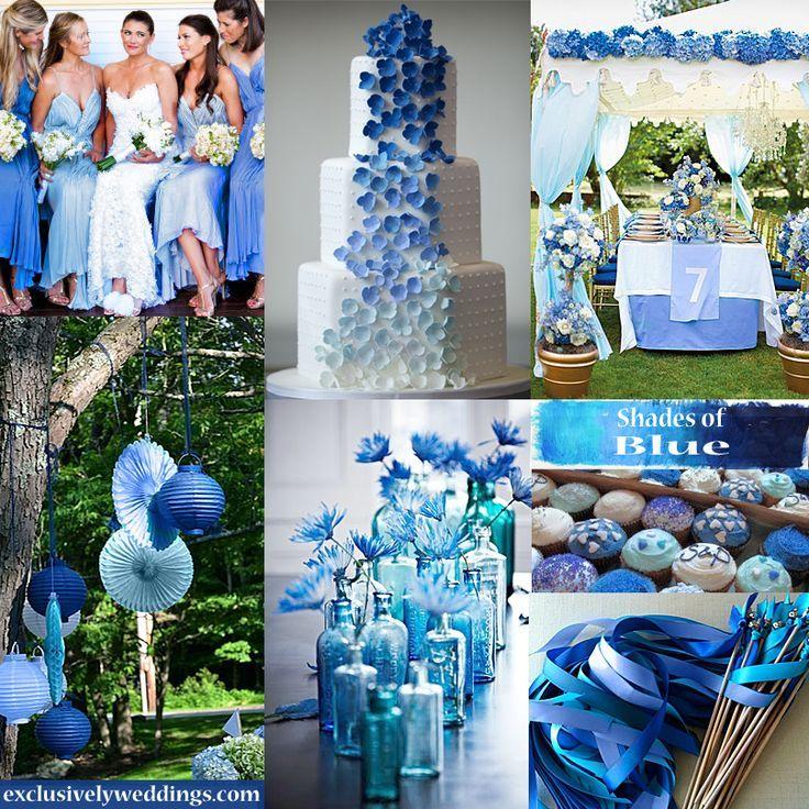 2014 Wedding Trends--Bright, bold colors! Monochromatic blues ...