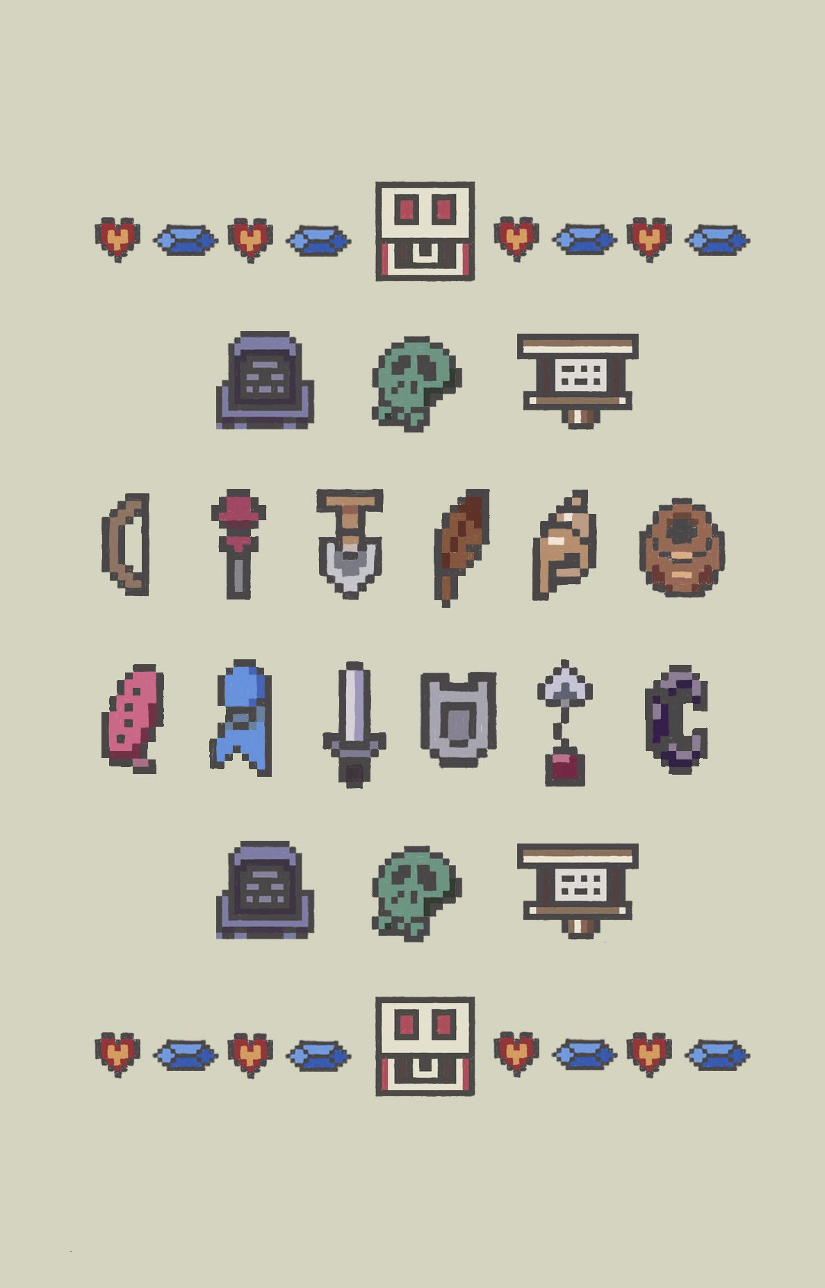 The Legend Of Zelda Link S Awakening 8 Bit Inventory Iphone Mobile Wallpaper Legend Of Zelda Pixel Art Awakening Art