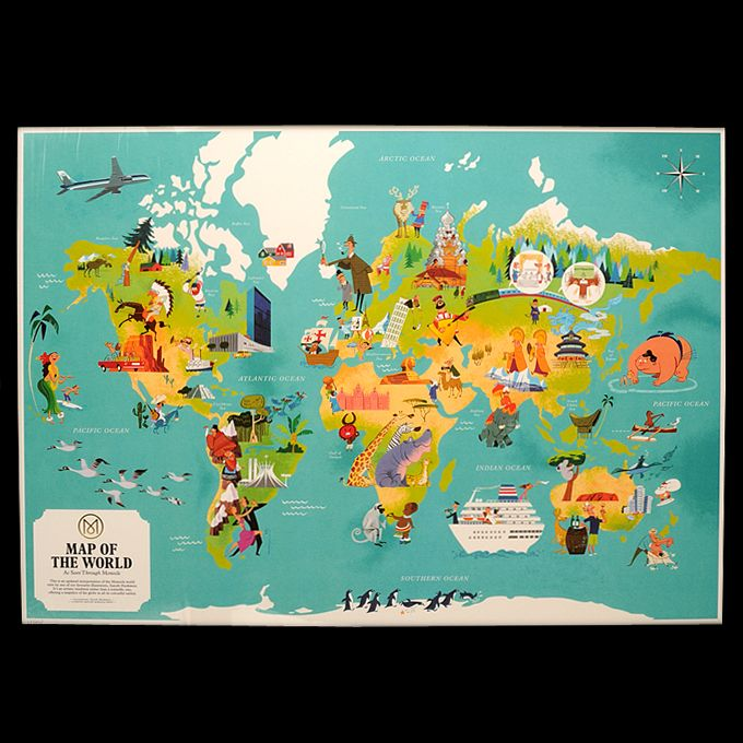 WORLD MAP POSTER V2 Illustrated for Monocle by Satoshi Hashimoto - new unique world map poster