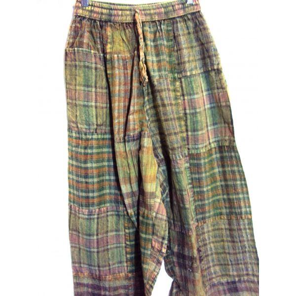 Pantalon Hippie Largo De Tejido Fino De Algodon 100 Hechos A Cuadros De Telas A Modo Patchwork Y Con Cintura Elastica Pantalones Hippies Ropa Retro Pantalones