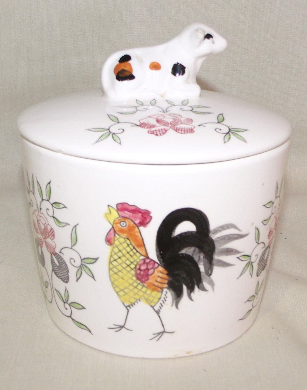 Early Provincial ~ Vintage Napco Rooster / Flowers Canister / Grease ...