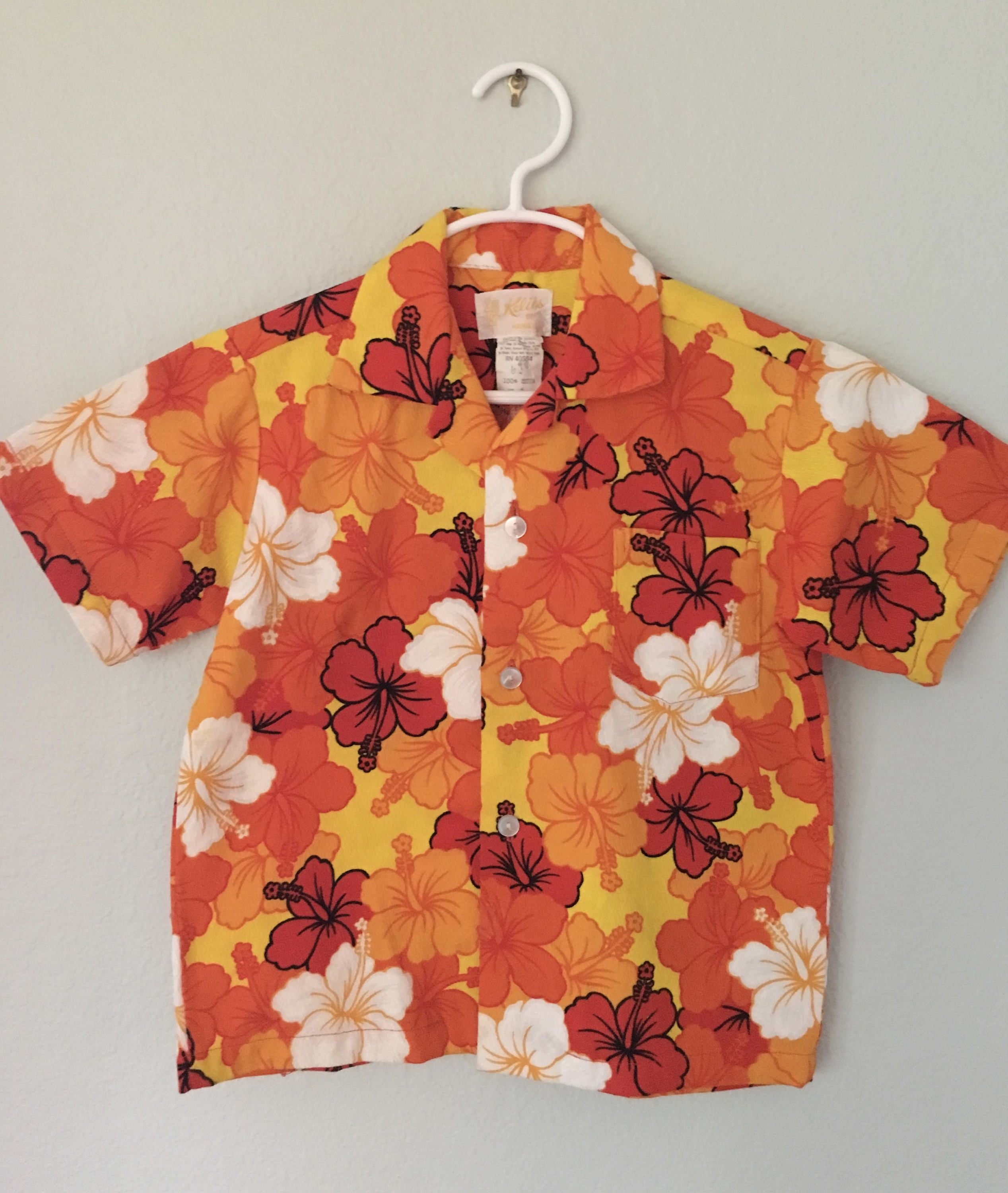 fcaedc2b9 Vintage Hawaiian Shirt, Keliis of Hawaii, Boys size 6 shirt, 70s kids  clothing, orange and yellow flowers, by VintageCrazyGirl on Etsy