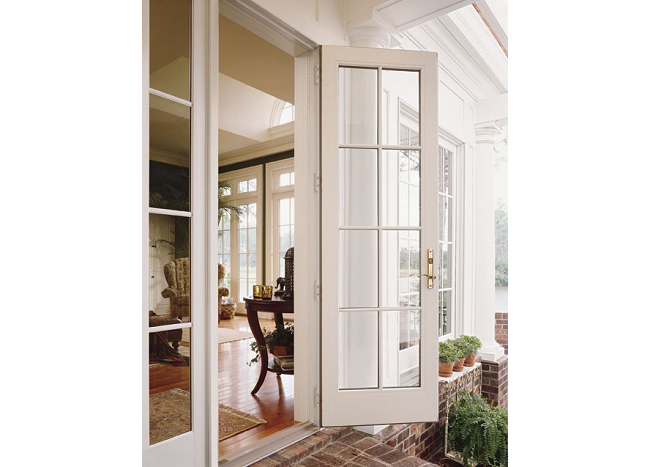 Anderson 400 Series Frenchwood Out Swing Patio Door With Colonial Grill