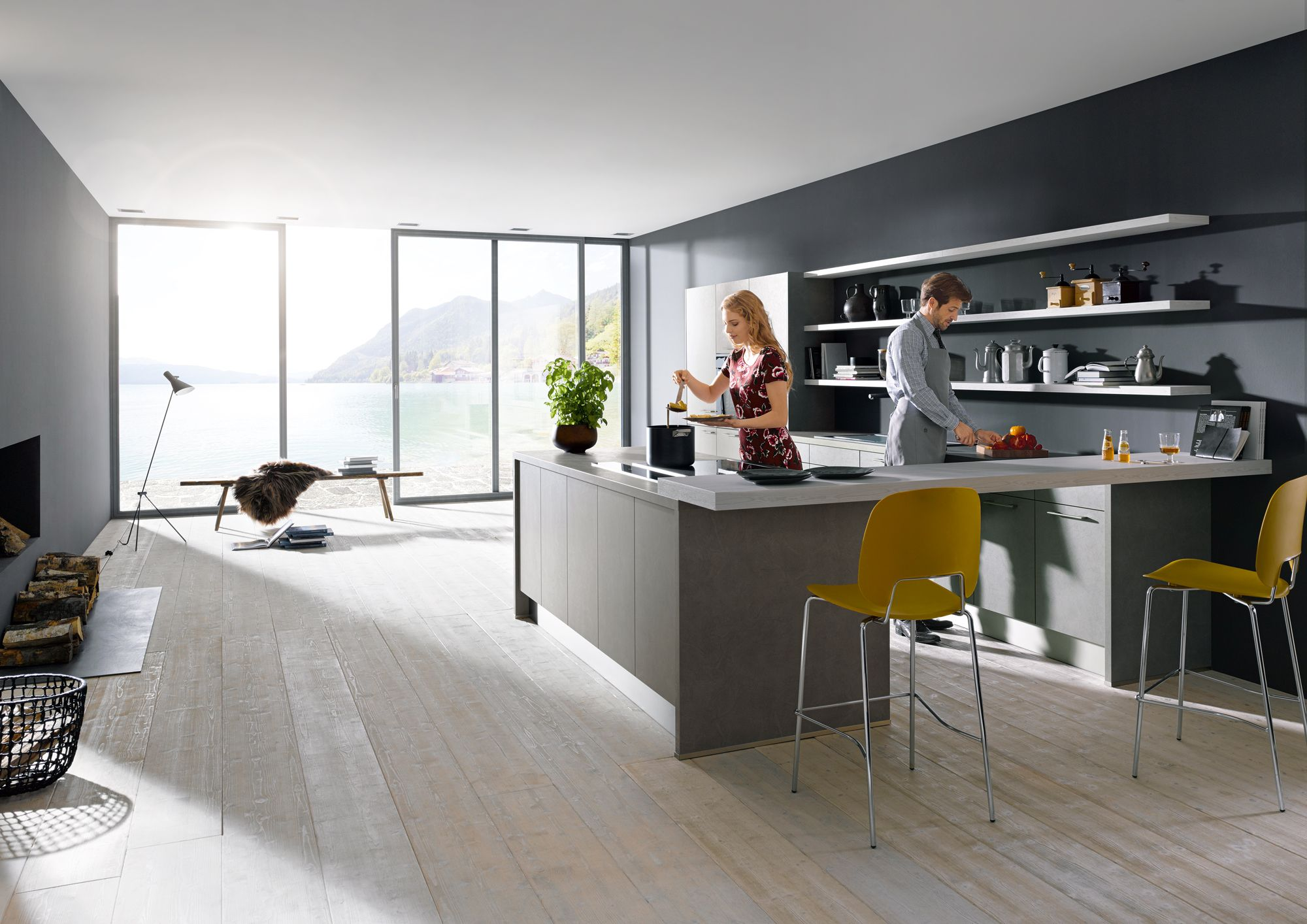 A Concrete Dark Grey Imitation Kitchen With An Island, Breakfast