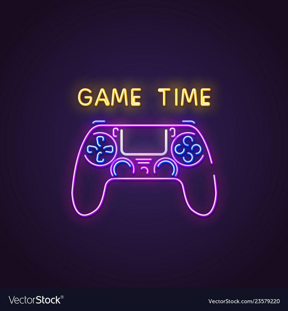 Gamepad neon banner vector image on in 2020 Neon, Neon