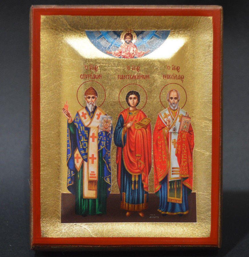 Orthodox Icon Handmade Greek Byzantine Serigraph Nicholas Panteleimon Spiridon