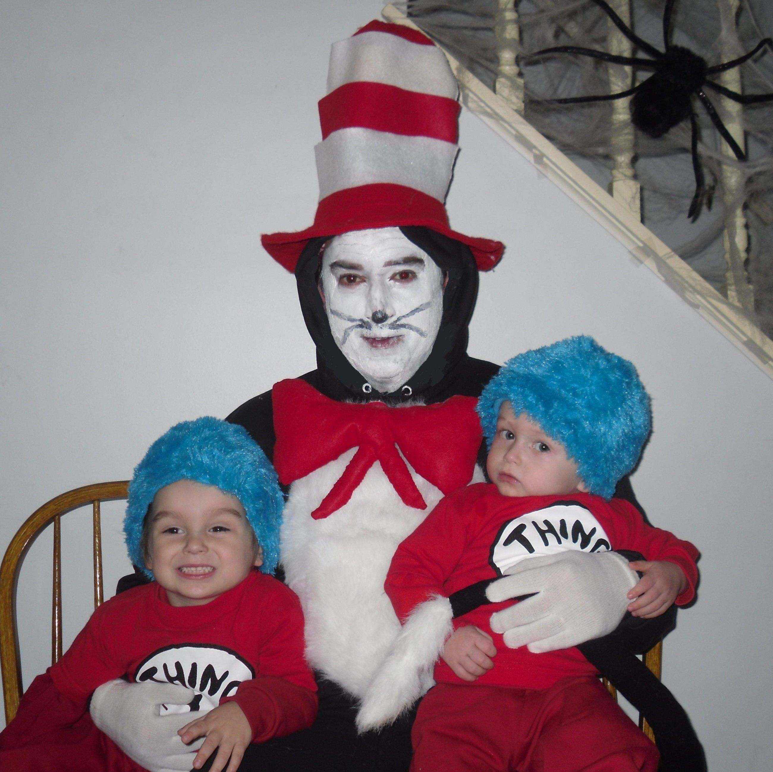 cat in the hat and thing 1 and thing 2 halloween costume idea i sewed - Cat In The Hat Halloween Costume Ideas
