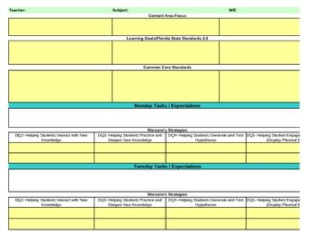 This Lesson Plan Template Contains Drop Down Menus For Ngss