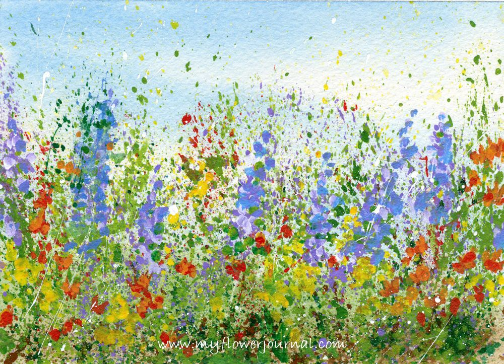 Simple Flower Garden Paintings create a splattered paint flower garden | paint flowers, flower