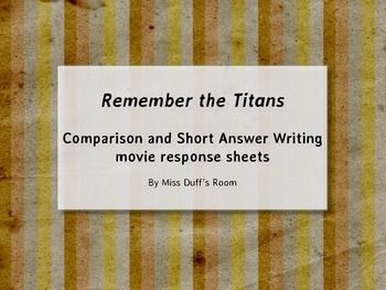 Remember The Titans Movie Response Sheets  Students Teacher Pay