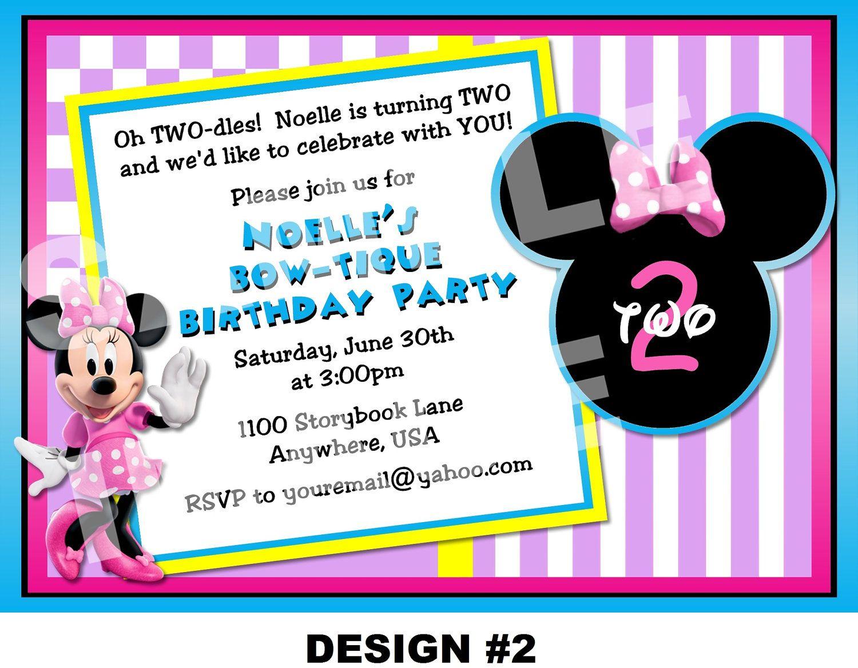 Minnie Mouse Birthday Invitation - Minnie Mouse Invitation ...