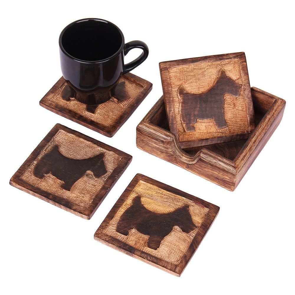 Christmas Thanksgiving Gifts Quirky Rustic Wooden Square Coasters For Drinks Set Of 4 And Holder Nursery Kids Room Furniture Theme Party Supplies Animal