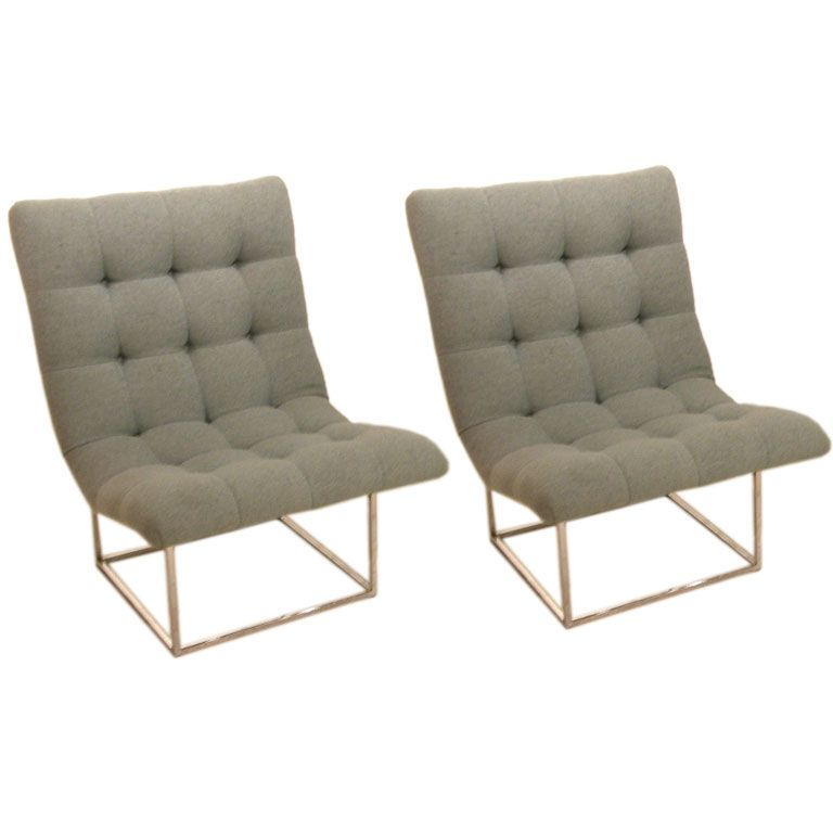 Pair Of Floating Scoop Slipper Chairs By Milo Baughman