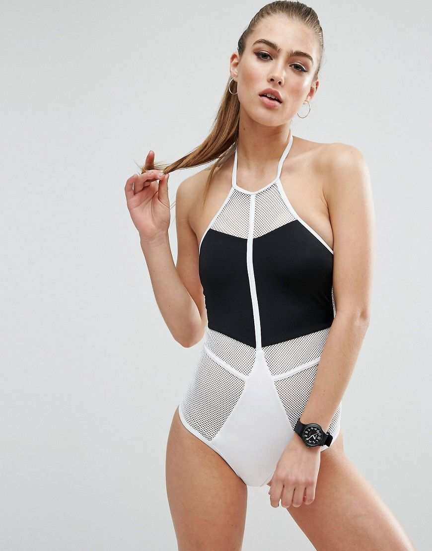 b1ec1e31b Buy it now. ASOS Mono Fishnet Zip High Neck Swimsuit - White ...