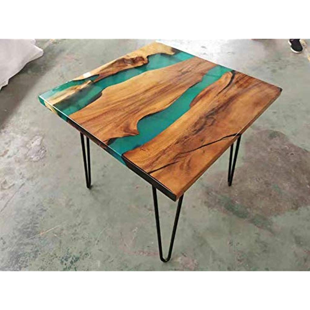 Beistelltisch Aus Epoxidharz Handgefertigt Aus Massivem Holz Mit